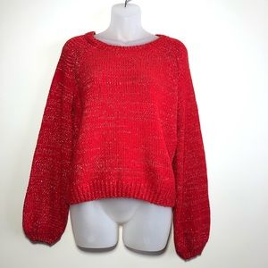 NWT Small Balloon Long Sleeve Soft Red Sweater